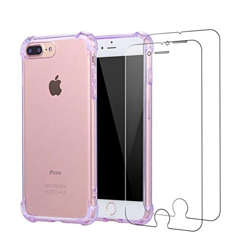 Cover iPhone 7 Plus + [2 Pezzi] iPhone 7 Plus Pellicola Vetro Temperato, Bestsky AntiUrto Shock Absorbing Pannello Posteriore Trasparente Silicone Custodia per Apple iPhone 7 Plus Viola