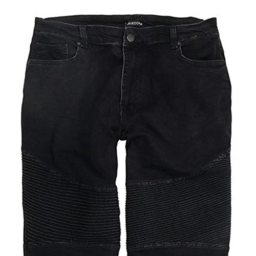 Designer Herren Jeans in Übergröße von Lavecchia in angesagter Crinkle Optik Schwarz