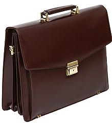 Idea Regalo - Tassia - valigetta 24 ore con tasca estraibile - rigenerato di pelle - bordeaux
