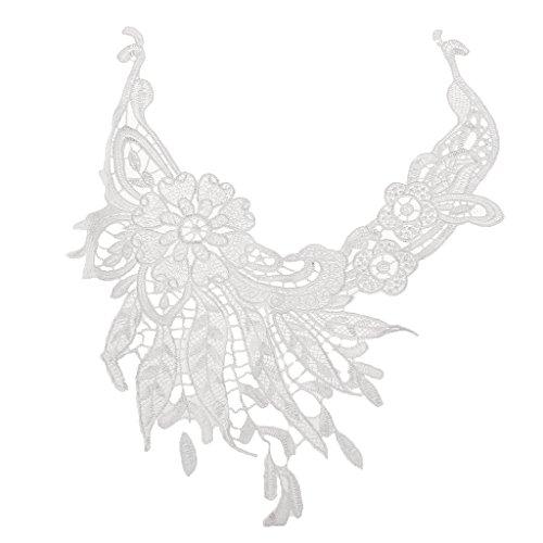 Dentelle écrue Ancienne Fleur Applique Ornement Couture Art Déco Col #16