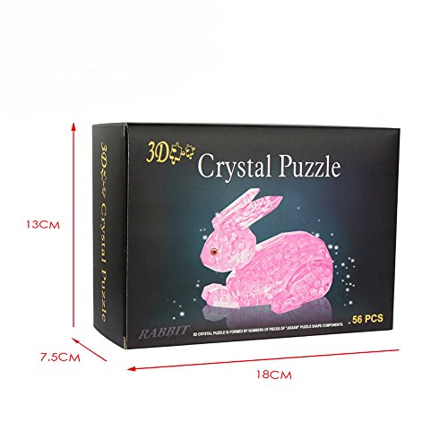 QINPIN 3D Crystal Bunny Puzzle Blöcke Rose Red Pink