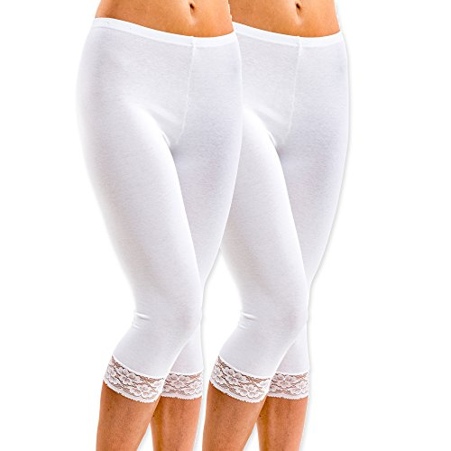 HERMKO 5722 2er Pack Damen 3/4-Leggings mit Spitze, Farbe:weiß, Größe:44/46 (L)