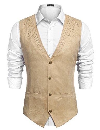 JINIDU Herren Casual Wildleder Weste Jacke Slim Fit Kleid Weste Weste Weste - - XL (Herren-wildleder-kleid-jacken)