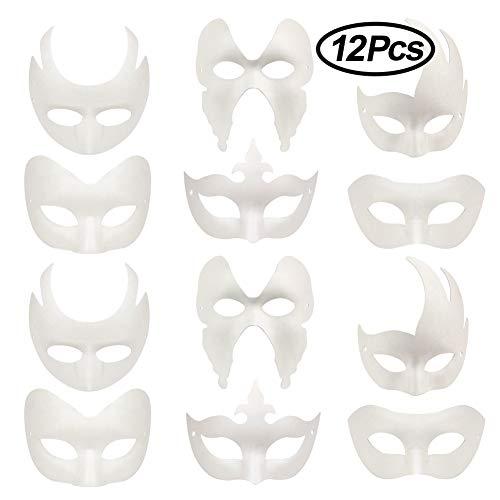 Lionsoul Weiße DIY Masken, 12 Stück unbemalte Maskerade Masken Plain Half Face Masken für Halloween Karneval Cosplay Kostüm