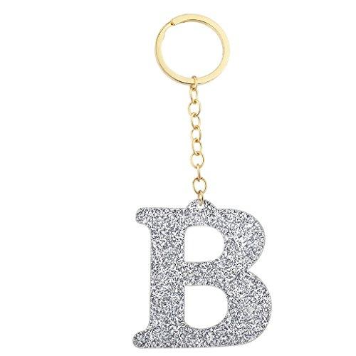 LUX accesorios dorado y plateado con purpurina Capital B inicial llavero llavero