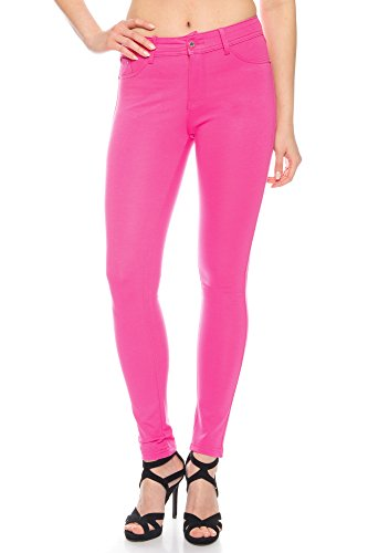 Modische Damen Jeggings Leggings Hüfthose Stretch Slimfit , Sehr bequem (Pink, XL / 42)
