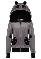 Sublevel Damen Fleece Jacke Panda Style mit Öhrchen und Panda Gesicht middle grey L