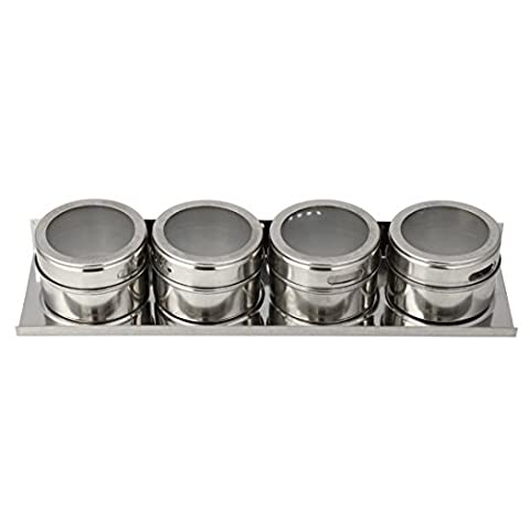erthome 4PCS Stainless Steel Silver Spice Storage Jar Tins Container With Rack Holder