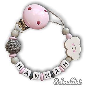 Schnullerkette mit Namen Gravur Wolke Häkelperle Geburt Taufe Geschenk Silikonring Rosa | Mädchen Namenskette