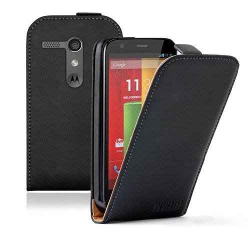 Membrane - Ultra Slim Schwarz Klapptasche Hülle kompatibel mit Motorola Moto G (XT1032 / XT1045 / XT1033 / LTE/Dual SIM/Forte/Peregrine) - Flip Case Cover