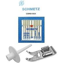 ZickZackNaehmaschine Schmetz Agujas Combi de Caja + Soporte para Rollos de Hilo lápiz Simplemente Sobre spuler