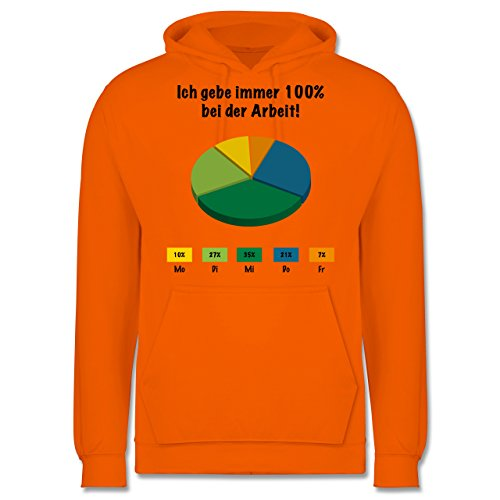 Sprüche - Ich gebe bei der Arbeit 100 Prozent - Männer Premium Kapuzenpullover / Hoodie Orange