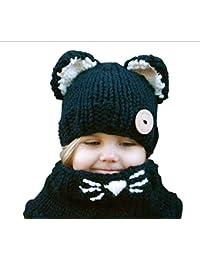 82d0a22ed7a IU Desert Rose Fournitures pour la Maison Bonnet bébé avec écharpe Chapeau  de Chat Oreilles Bonnet Enfants…