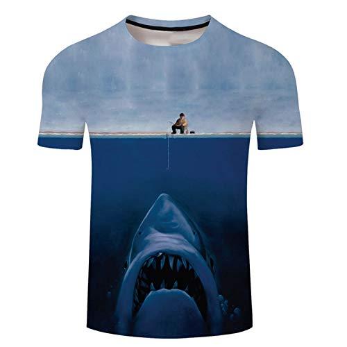 Lustiges T-Shirt mit 3D-Motiv Tropische Fische, kurzärmlig, für Herren und Damen, Übergröße, lässiges T-Shirt hai S -