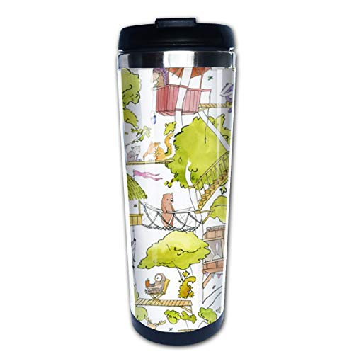 Animal Friends Treehouse On White Multi Insulated Stainless Steel Travel Mug 14 oz Classic Lowball Tumbler with Flip Lid Nissan Travel Mug