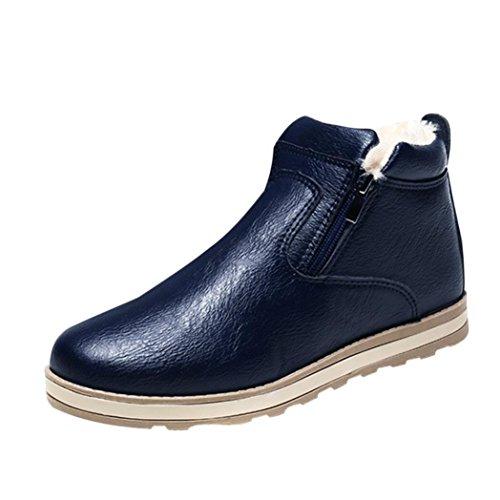XINANTIME - Zapatos de hombre Botas calientes de invierno para hombres Zapatos casuales Botas de nieve de moda de felpa (41, Azúl)