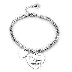 Idea Regalo - Beloved ❤️ Braccialetto da donna, bracciale in acciaio emozionale - frasi, pensieri, parole con charms - ciondolo pendente - misura regolabile - incisione - argento (MOD 7)