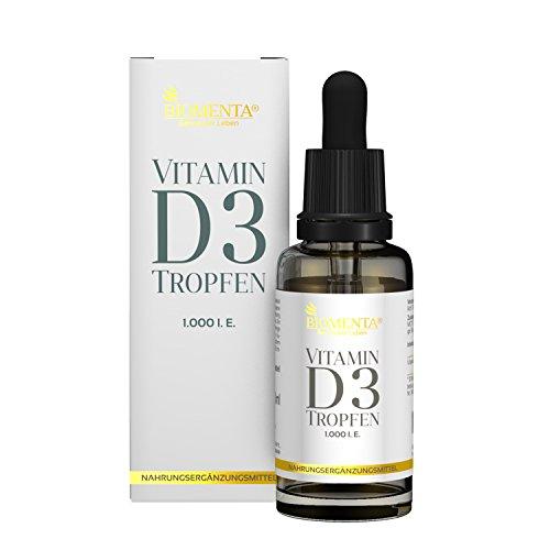 BIOMENTA VITAMIN D3 TROPFEN HOCHDOSIERT | 1.000 I. E. | Vitamin D3 vegan + flüssig: 50 ml MCT-Öl aus Kokos mit Vitamin D aus Cholecalciferol (Pillen 10000 Vitamin E)