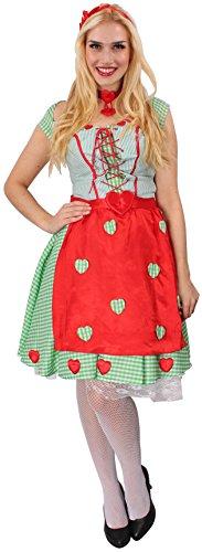 KARNEVALS-GIGANT Dirndl grün-rot-weiß für Damen | Größe 36/38 | 3-teiliges Oktoberfest Kostüm | Wiesn Faschingskostüm für Frauen | Trachtenkostüm für Karneval