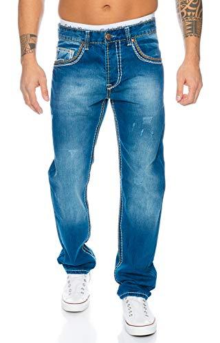 Rock Creek Herren Used Stonewash Jeans Hose Dicken Nähten Destroyed Jeans Herrenjeans Raw Denim Herrenjeans RC-2053 Blau W31 L34 -