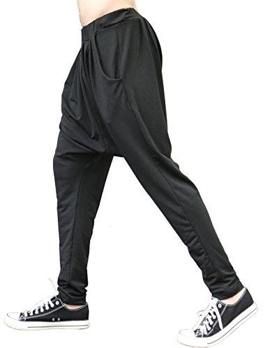 Allegra K uomo fianchi Design pantaloni casual Harem pantaloni blu scuro W28/30 Black