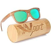 Ynport Crefreak lunettes de soleil unisexes avec monture en bambou, style Wayfarer, femme, Green, taille unique