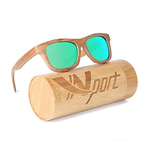 Ynport Bambus-Sonnenbrille für Herren/Damen, klassisches Design, mit Holz beschichtet, Vintage-Stil, Floating Eyewear