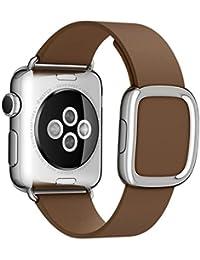 Apple Seguir Band, moderno original de la hebilla del cuero genuino de la correa de la pulsera de la venda del reloj con banda de reemplazo adaptador de cierre para Apple reloj iWatch (marrón, 42mm)