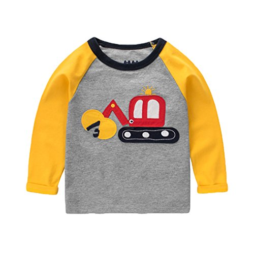 Cartoon-kinder Sweatshirt (SECRET CHERISH Kinder Baby Jungen Langarm Langarmshirt Pullover Cartoon Bagger T-Shirt Top Sweatshirt Baumwolle im Frühling, Herbst und Winter für Kinder Baby Jungen im Alt von 3 bis 4 Jahre (Grau))