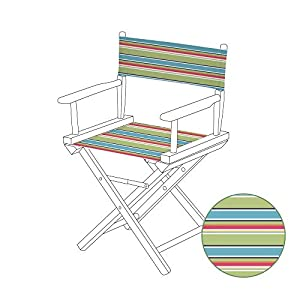 Gardenista Durable Replacement Seat Cover for Directors Chair | Water Resistant & Easy Clean Fabric | Torino Style (Pastel Stripes)