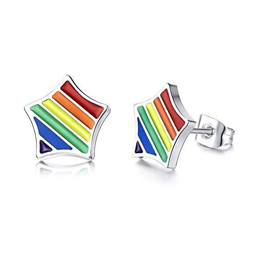 cker Ohrhänger Regenbogen Stern Ohrringe Für Männer Edelstahl Pin Schraube Zurück Ohrringe Casal Schmuck ()