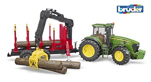 bruder 3054 John Deere 7930 mit Rückeanhänger und 4 Baumstämmen, Grün/Rot