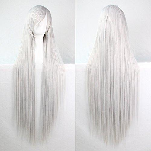 Frauen / Damen 100cm Silber Weiß Farbe lange gerade Cosplay / Kostüm / Anime / Party / Bangs Voll Sexy (Kostüm Weißes Perücke Haar)