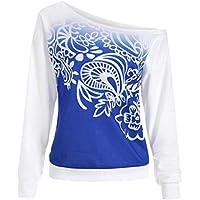 Longra☀ Casual otoño Impreso Manga Larga Camiseta Blusa Camiseta Sport Tops