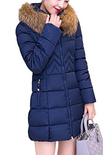 Le Donne Una Zip Felpa Peloso Collare Inverno Elastico Lungo Gli Outwear Trapuntato Navy