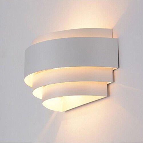Fuskang lampada da parete moderna bianca lampada da parete in ferro semplice torcia lampada da comodino camera da letto luci soggiorno corridoio luce corridoio luci scale luce (color : white)