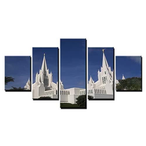 YJHCZC Leinwandbilder Wohnkultur Wandkunst 5 Stücke Tempel Gemälde Wohnzimmer Hd Drucke Kirche Jesus Christus Poster Rahmen