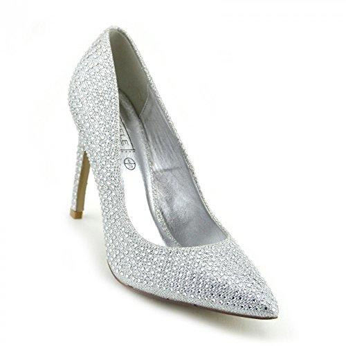 Kick Footwear - DONNA WOMENS METÀ A SPILLO PUNTA A PUNTA TACCO ALTO PARTY POMPE CORTE DI SCARPE ARGENTO - PO0440