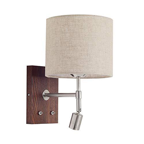 Wandleuchte Holz Textil Innen Wandlampe Up Down Beleuchtung mit 2-Schaltern E27 Leuchtmittel und Drehbar LED Spotlight Leselampe Nachttischlampe,Walnuss-farbe -