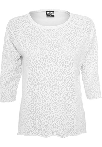 URBAN CLASSICS Ladies 3/4 Sleeve Wide Burnout Tee, Farbe:WHITE;Größen:XL (White Burnout-t-shirt)