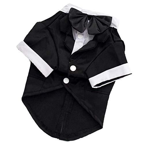 TGD Pet Dog Kostüm Mit Schwarzem Bogen Krawatte Bib Hose Hund Anzug Welpen Hochzeit Bräutigam Kleidung Mantel Doggie,L