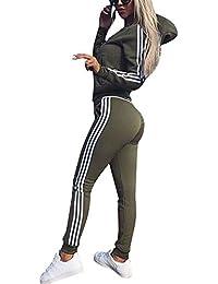 97cf300f353a Tomwell Women 2 Pieces Tracksuit Ladies Zipper Playsuits Sportswear Strip  Hooded Zip up Sweatshirt Hoodies +