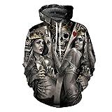 Skull Poker 3D Hoodies Uomo Donna Felpa con cappuccio Felpe casual Giacche da uomo Novità LMS190 L