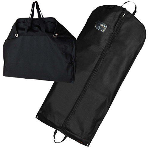 Atmungsaktiver Reise Kleidersack mit Tragegriffen und Druckknopfverschlüssen - schwarz - 137 cm - Hangerworld