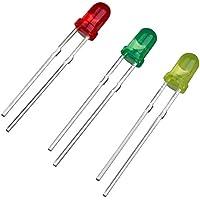 SODIAL(R) 75 pz Diodo ad emissione luminosa LED rosso verde giallo testa rotonda diametro 3mm
