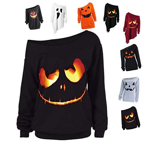 LOPILY Halloween Shirts Kürbis Kostüm Damen Schulterfrei 3D Sweatshirts für Halloween EIN Schulter Sexy Halloween Party Tshirt Gruselige Muster Oberteile Damen Halloween Kostüme