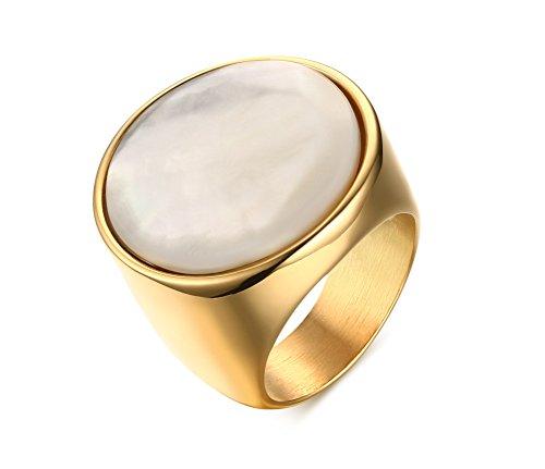 Vnox Acciaio inossidabile Shell Inlay Lunetta uomo Impostazione anello della fascia di aggancio di cerimonia nuziale in oro,Italia Dimensioni