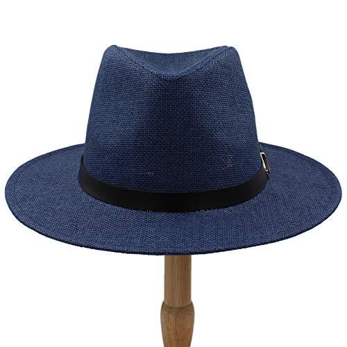 Herren Cool Fedora Hüte Mode Breiter Krempe Hüte Männer Jungen Gangster Billycock Sonnenhüte Die britische Freizeit Mütze Sommer Caps , leicht, atmungsaktiv ( Farbe : Draw blue , Größe : 56-58CM )