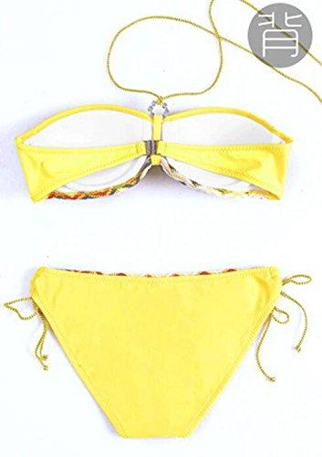 PRIDE S Striped Cover Bikini Damen Badeanzug Spa Badeanzug Beach Badeanzug Gelb