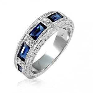 Bling Jewelry Deco Style Simulated Sapphire Baguettes Wedding Band Gold Plated